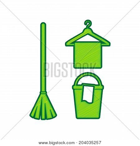 Broom, bucket and hanger sign. Vector. Lemon scribble icon on white background. Isolated