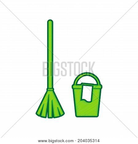 Broom and bucket sign. Vector. Lemon scribble icon on white background. Isolated