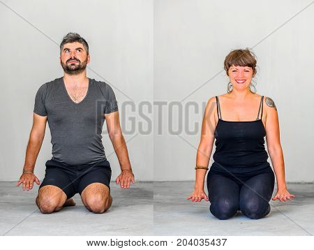Yoga students showing different yoga poses. Yin yoga
