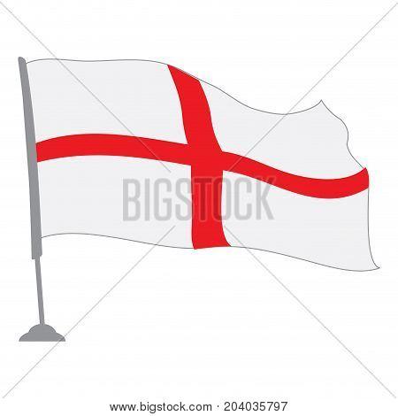Isolated flag of England on a pole, Vector illustration