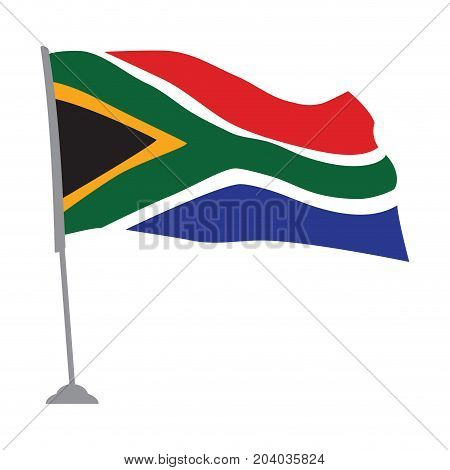 Isolated flag of South Africa on a pole, Vector illustration