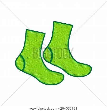 Socks sign. Vector. Lemon scribble icon on white background. Isolated