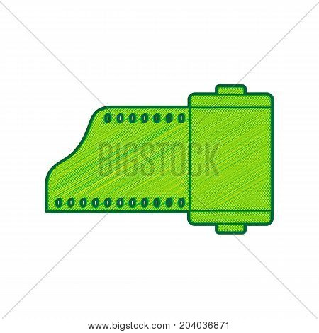 Old photo camera casset sign. Vector. Lemon scribble icon on white background. Isolated