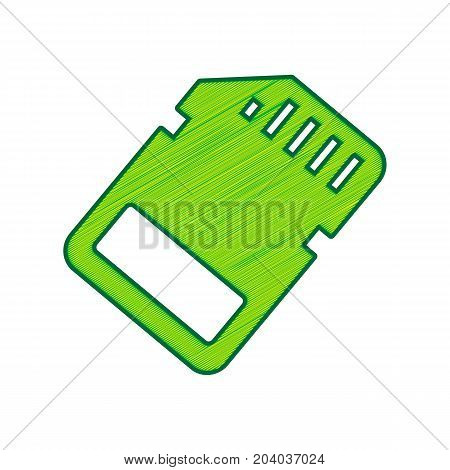 Memory card sign. Vector. Lemon scribble icon on white background. Isolated