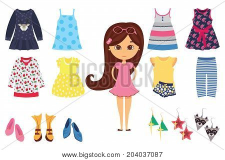 Flat isolated baby girl fashion icon set with stylish little girl and his different clothes vector illustration
