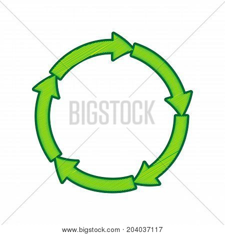 Circular arrows sign. Vector. Lemon scribble icon on white background. Isolated