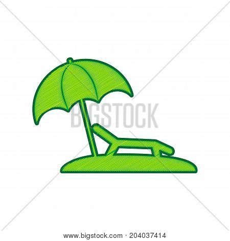 Tropical resort beach. Sunbed Chair sign. Vector. Lemon scribble icon on white background. Isolated