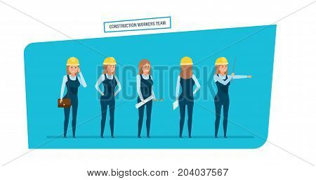 Construction engineers workers team. Engineers character person cartoon set with construction workers team, architect, in different poses. Work with documents, archives, projects. Vector illustration.