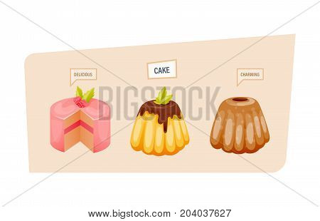 Colorful sweet charming cakes slices with glaze and chocolate cream. Set of cake birthday. Sweet delicious dessert and pastries. Bakery products. Vector illustration, isolated on white background