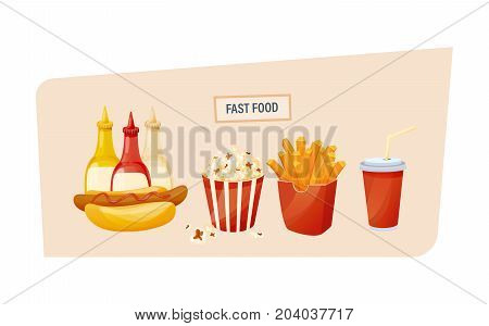 Fast food concept. Set of delicious food, sauces and drinks from fast food. Hot hot dog with different sauces, popcorn, potato fries, and cool drink. Vector illustration isolated.