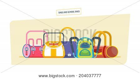 Backpacks and school bags, woman fashion bags. School bag luggage, backpacks with school supplies. Women's bags of different shapes and colors. Vector illustration isolated.