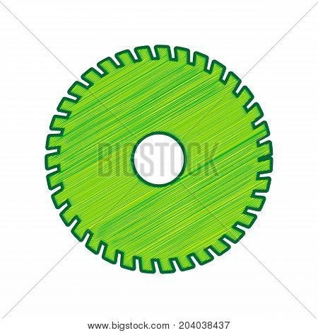 Saw sign. Vector. Lemon scribble icon on white background. Isolated