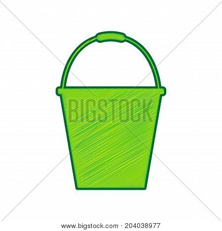 Bucket sign for garden. Vector. Lemon scribble icon on white background. Isolated