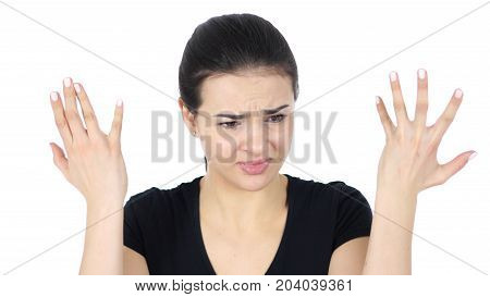 Portrait Of Angry Woman Isolated On White Background