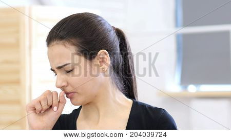 Coughing Woman, Cough For Sick Girl Indoor