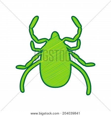Dust mite sign illustration. Vector. Lemon scribble icon on white background. Isolated