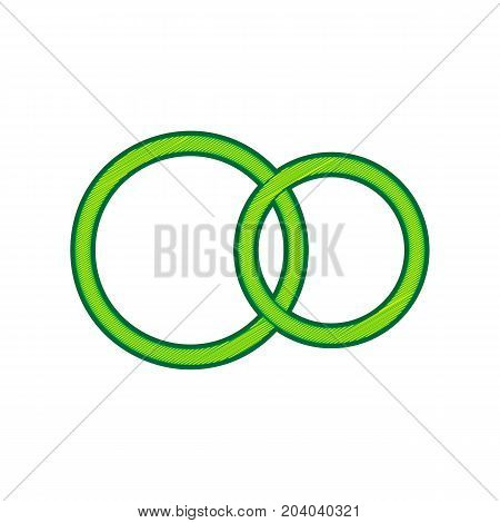 Wedding rings sign. Vector. Lemon scribble icon on white background. Isolated
