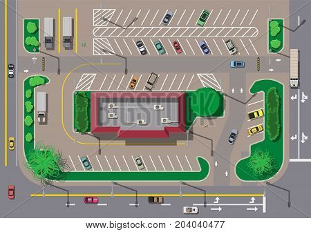 Fast food cafe restaurant and parking for cars. City parking lot with different cars. Takeaway express window. Parking zone top view with various vehicles. City life. Vector illustration in flat style