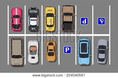 City parking lot with different cars. Shortage parking spaces. Parking zone top view with various vehicles. Sedan, roadster, suv, sport car, pickup. Vector illustration in flat style