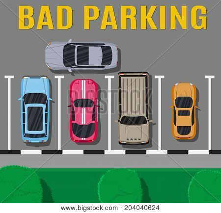 City parking lot with different cars. Shortage parking spaces. Parking zone top view with vehicles. Bad or wrong car parking. Traffic regulations. Rules of the road. Vector illustration in flat style