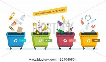 Containers for garbage of different types. Urns for paper products, food waste, glass and plastic waste. Recycle, recycled paper, food, waste. Vector illustration isolated on white background.