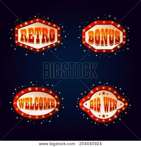 Set of isolated illuminated signs or shining signboards for casino and gambling places, entertaining show. Signposts for welcome bonus and win advertisement. Jackpot and prize, night boards theme