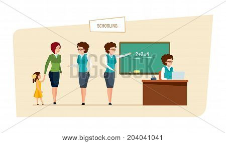 Schooling concept. Education in school. Mom arranges a daughter in school, talks with teacher. Classes and lesson in the classroom. Teacher on lesson. Back to school. Illustration in cartoon style.