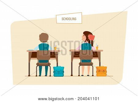 Schooling concept. Modern education in school. Lesson in classroom. Classmates sit next to each other, behind desks, with school accessories and backpacks. Illustration isolated in cartoon style.
