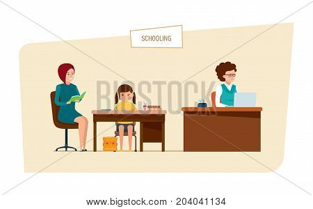 Schooling concept. Education in school. Lesson in classroom. Mom learns lessons at home with her daughter. The teacher works at the desk with documents and materials. Illustration in cartoon style.