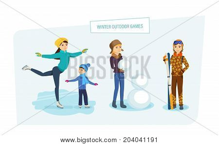 Winter outdoor games concept. Amusement park and relax. Mom rides on ice with his son on skates, a young girl sculpts a snowman in the park, the girl goes skiing. Illustration in cartoon style.