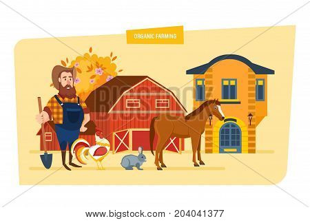 Organic farming concept. Agriculture and autumn farming. Farmer working at farm and breeds animals. Organic pure natural food, clean environment. Rural landscape. Vector illustration in cartoon style.