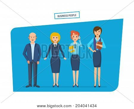 Business people concept. Group of office workers. Cartoon character people in beautiful business clothes, with briefcases and bags in their hands. Vector illustration isolated in cartoon style.