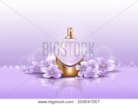 Perfume bottle or sprayer on flowers and bubbles. Glassware container for woman or female aroma fluid. Package logo or print with atomizer or vaporizer, pulverizer. Perfumery and beauty theme