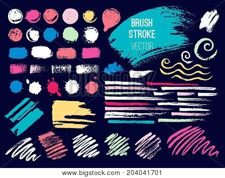 Set stroke spot blod. Brush, pen, marker, chalk. Vector distressed grunge modern textured brush stroke. Dry brush. Hand drawn vector.