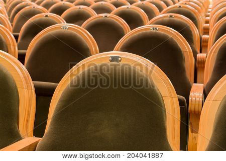 The chairs in the auditorium. Deserted hall.