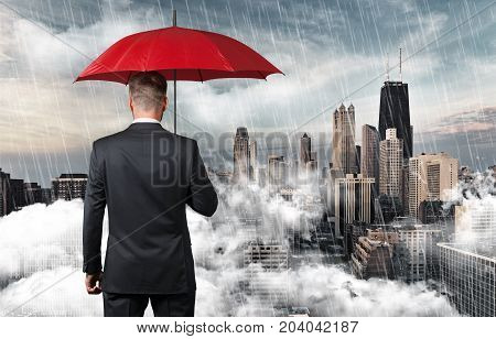 Business holding man umbrella business issues red person