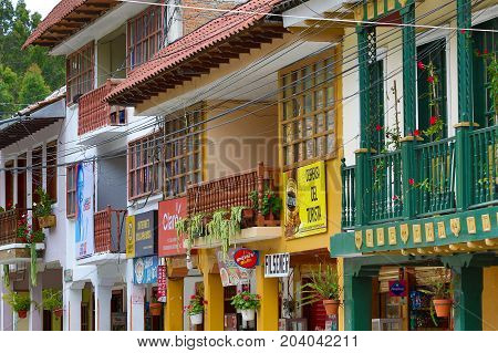 March 15, 2017 Vilcabamba Ecuador: storefront closeup of the colonial buildings of the center area of the popular expat destination town