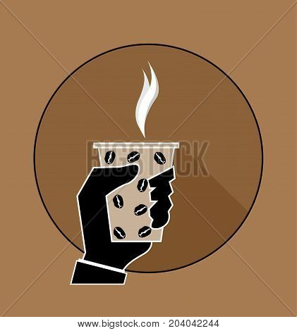 Isolated vector illustration. Hand holding cup of hot drink. Coffee time, coffee break.Man cartoon Hand Paper Coffee Cup Latte Americano Espresso Flat Design Vector Illustration