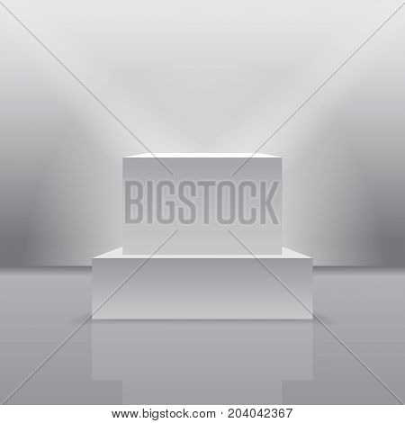 Exhibition pedestal in 3d realistic form. Museum light podium at blank furniture box. Projector on stage with blank cube, wall podium boxes. Presentation and award, exhibition and showcase theme
