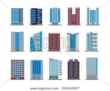 Set of isolated modern buildings. Skyscraper icons for urban or cityscape architecture, metropolis or downtown sight, high estate or tall house, government buildings exterior view. Construction theme