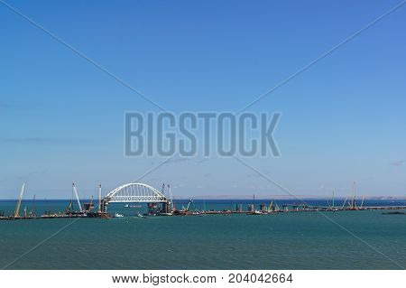 Construction Of Road And Railway Bridges Across The Kerch Strait. Built The 227-meter-long Arch Span
