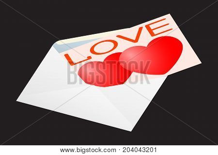 Greeting card for Valentine s Day in an envelope. Vector illustration.