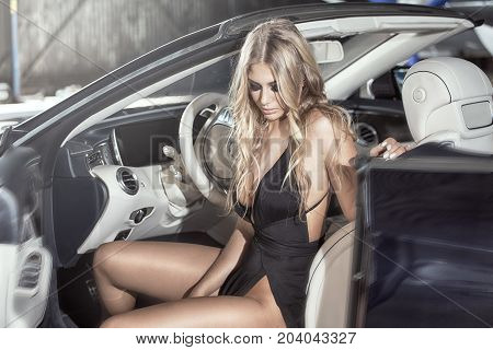 Elegant Blonde Luxury Woman Posing.