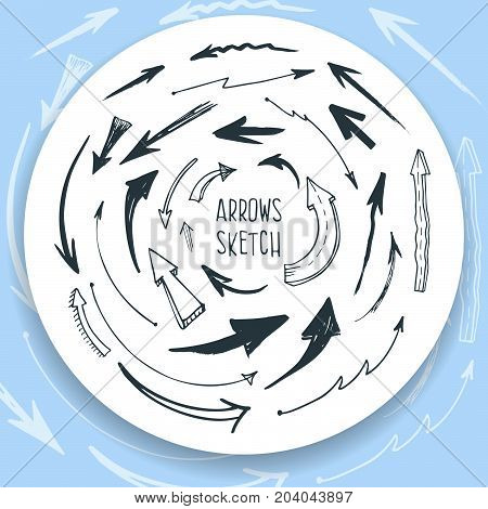 arrows sketch style for sites, posters, background. Vector illustration with isolated arrows on white background.