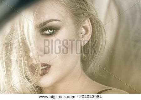 Sensual Blonde Girl In Glamour Makeup.