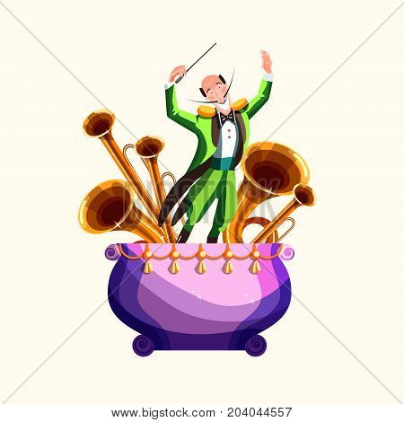 Conductor and musical wind instruments, vector illustration
