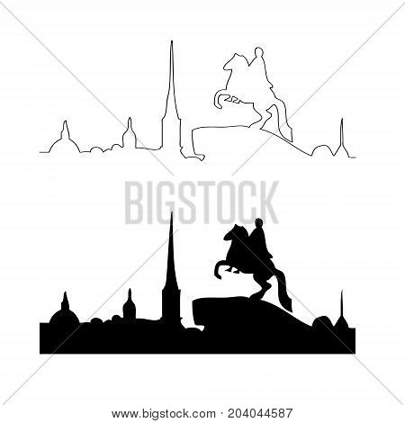 Vector black outline illustration of panorama with the bronze horseman monument spires and dome
