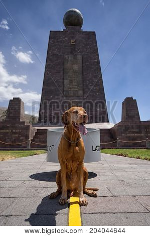 August 1 2016 Quito Ecuador: the Mitad del Mundo monument on the equator line is a pet friendly place