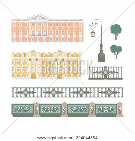 Vector set of isolated building facade and bridge handrails illustrations. Saint Petersburg architecture template