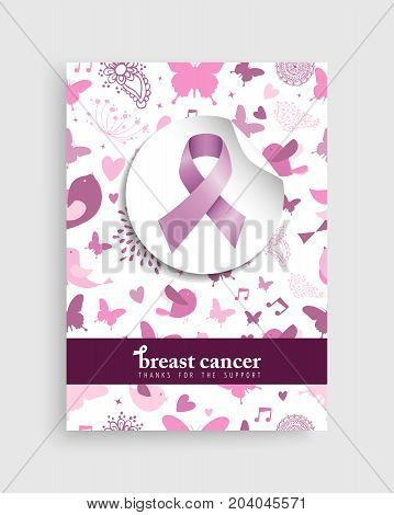 Pink Nature Icon Breast Cancer Awareness Poster